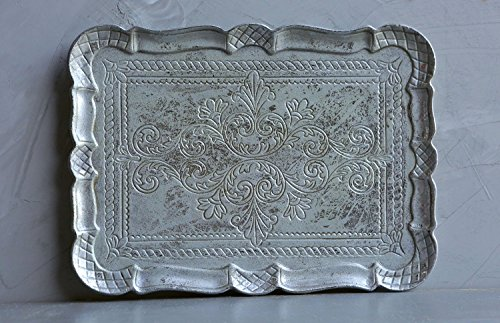 Decorative Wooden 16 x 12 Inch Antique Silver Finish Tray (Pewter Tea Service compare prices)