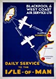 C1938 Vintage British Travel to ISLE OF MAN with BLACKPOOL & WEST COAST AIR SERVICES 250gsm Gloss ART CARD A3 Reproduction Poster