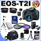 51sZ7e%2BFVcL. SL160  Top 10 Digital SLR Camera Bundles for February 12th 2012   Featuring : #4: Canon EOS Rebel T3i 18 MP CMOS Digital SLR Camera and DIGIC 4 Imaging with EF S 18 55mm f/3.5 5.6 IS Lens &amp; Canon 55 250IS Lens + 58mm 2x Telephoto lens + 58mm Wide Angle Lens (4 Lens Kit!!!!!!) W/32GB SDHC Memory+ Battery Grip + 2 Extra Batteries + Charger + 3 Piece Filter Kit + UV Filter + Full Size Tripod + Case +Accessory Kit