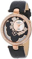 Akribos XXIV Women's AK601BK Lady Diamond Flower Dial Swiss Quartz Leather Strap Watch
