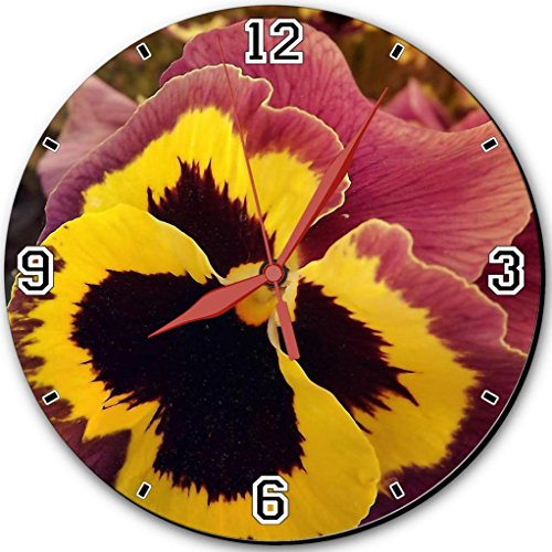 Pansy Seeds Colorful Yellow Blue Red Purple Happy Flowers Punktail'S Collections 10 Inch Quartz Plastic Wall Round Clock Customized Made To Order