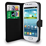 Black Leather Wallet Flip Case Cover Pouch For Samsung Galaxy S3 Mini I8190 + Free Screen Protector - Black