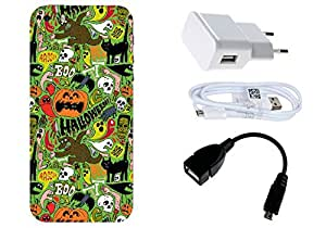 Spygen Apple iphone 5/5S Case Combo of Premium Quality Designer Printed 3D Lightweight Slim Matte Finish Hard Case Back Cover + Charger Adapter + High Speed Data Cable + Premium Quality OTG