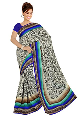 Varsha Sarees Women's Synthetic Georgette Unstitched White Colored Geometric Print Saree_3843a