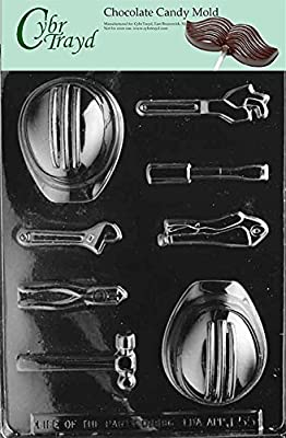 Cybrtrayd J055 Hard Hat Tools Hammer Chocolate Candy Mold with Exclusive Cybrtrayd Copyrighted Chocolate Molding Instructions
