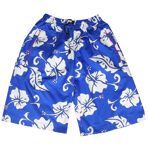Zip Zap Zooom Mens Flower Board Swim Skate Sports Shorts Surf Retro Blue