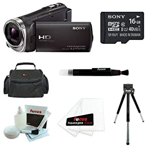 Sony HDR-CX330 Full HD Handycam Camcorder (Black) + Sony 16GB Memory Card + Focus Soft Photo and Video Medium Case + Focus 5 Piece Deluxe Cleaning and Care Kit + Accessory Kit