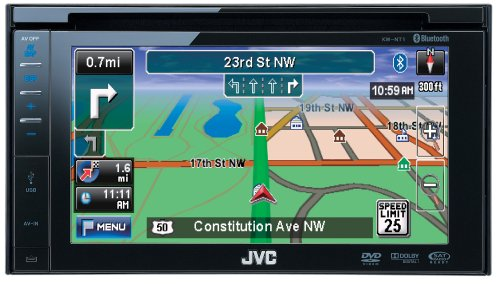 JVC KW-NT1 Double-DIN Navigation with 6.4-Inch Widescreen Receiver with Detachable Touch-Panel Monitor, DVD/CD/USB/SD Card, iPod/iPhone/USB 2.0/Bluetooth