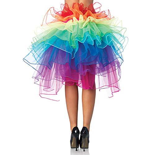 SuperR Women's Clubwear Dancing Tutu Layered Organza Lace up Rainbow Skirt