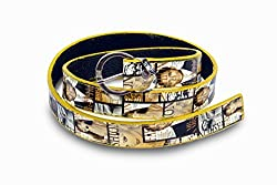 Women yellow and white print design belt