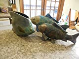 3 Large Roku Copper Pottery Pieces 2 Koi and Fish Fin Broke on 1