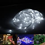 LE Solar Rope Lights, 23ft, Waterproof, 50 LEDs, 1.2 V, Daylight White, Portable, with Light Sensor, Outdoor Rope Lights, Ideal for Christmas, Wedding, Party