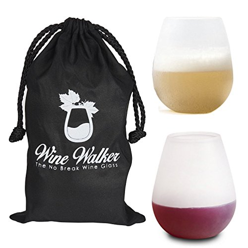Unbreakable Silicone Wine Drinking Glasses & Travel Tote Carrier Bag for Carrying Red or White Vino or Champagne to Picnics - Set of 12 oz Tumblers Best as Camping Gear To Go On Outdoor Hikes...