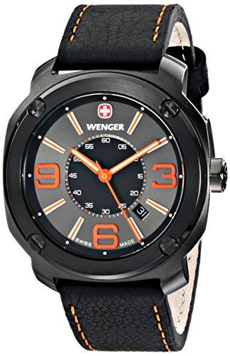 wenger 011051107 - Reloj de pulsera hombre, piel, color negro