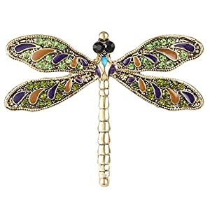 Ever Faith Gold-Tone Austrian Crystal Vintage Inspired Dragonfly Brooch Pin Green N05214-3