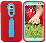 myLife Fire Engine Red + Frosty Blue {Horizontal and Vertical Kickstand Design} 3 Piece Hard and Soft Case for the for the LG G2 Smartphone (External Soft Silicone Flexible Bumper Gel + Internal Rubberized 2 Piece Snap On Hard Safe Shell)