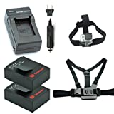 Smatree Battery(2 Packs)+Charger Kits+Head Strap Mount+Chest Belt Strap Mount for Gopro HD HERO3+,HERO3,AHDBT-201,AHDBT-301, AHDBT-302