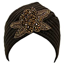 Luxury Divas Brown Winter Knit Turban Beanie Hat With Beaded Flower