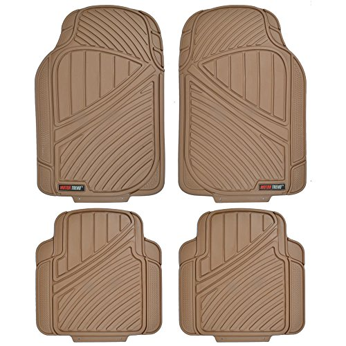 Motor Trend FlexTough Standard - 4pc Heavy Duty Rubber Floor Mats (Beige Tan) (2007 Toyota Camry Floor Mats compare prices)