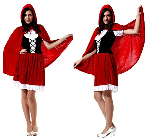 Ponce Little Red Riding Hood Adult Halloween Cosplay Dress Costumes Princess Dress