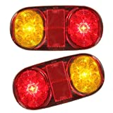 2PCS LED Tail Trailer Lights For Truck Boat Ute Submersible No/Plate