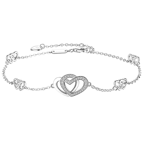 Silver Heart Adjustable Ankle Anklet Foot Feet