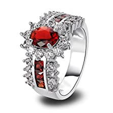 buy Psiroy 925 Sterling Silver Exquisite Charming Oval Cut Ruby Spinel & White Topaz Cluster Gem Stone Filled Ring Band For Women