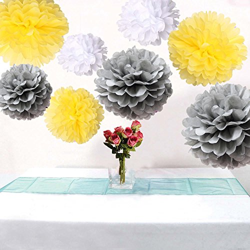18Pcs Mixed Size White Yellow Silver Party Tissue Pom Poms Wedding Birthday Party Baby Room Nursery Decoration