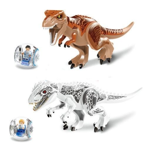 2Pcs/lot Tyrannosaurus Rex Building Toys Mini Figures Bricks CZP