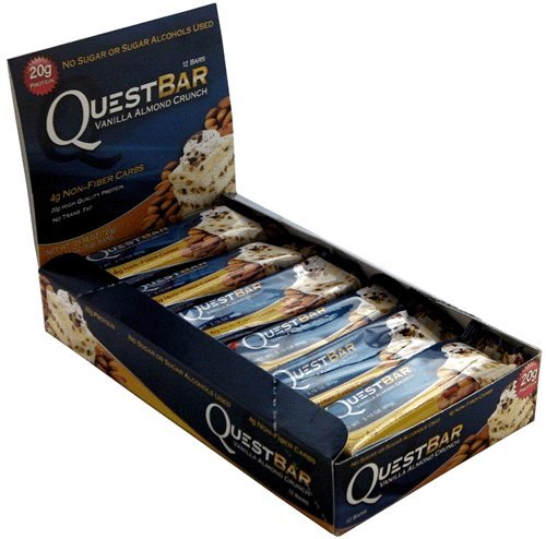 Vanilla Almond Crunch Quest Bar 2.12 oz. Low Carb, Gluten Free, High Fiber Protein Bars (Box of 12 Bars)