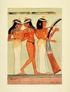 1907 Print Nude Instrument Harp Guitar Tomb Nacht Thebes Luxor Egypt Art Tyndale - Original Color Print