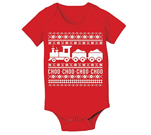 Ugly Sweater Trains Funny Christmas - Baby One Piece - Red - 18 Months