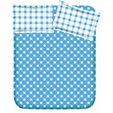 RR TEXTILE HOUSE PRESENTS BLUE COTTON DOUBLE BEDSHEET WITH 2 PILLOW COVERS (ROUND5A)