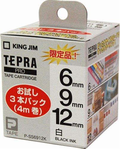 KING JIM Tepla PRO tape cartridge white / black embroidery Sampler Pack of 3 (4 m, volume) P-SS 6912 K