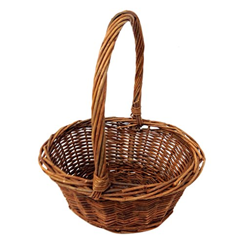 Royal Imports Oval Shaped Easter Basket with Handle and Plastic Insert -6×8 Inches-