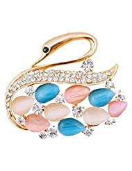 Silver Shoppee Creative 21K Rose Gold Plated Cubic Zirconia And Opal Studded Alloy Brooch