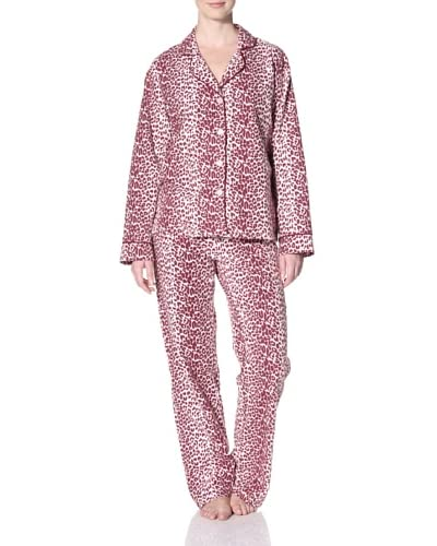 40 Winks Women's Leopard Notch Collar PJ Set