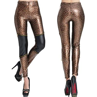 StoreElec(TM) New Women Leggings Faux Leather Jeggings Leopard Pencil Pants Stretch Trousers