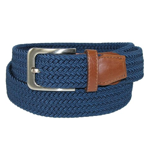CTM® Mens Elastic Silver Buckle with Tan Tabs Braided Stretch Belt, Medium, Navy