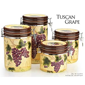 amazon com 4 piece tuscan grape canister set health