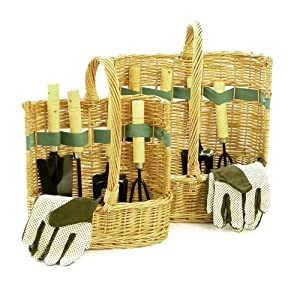 His hers garden tool baskets with tools for Gardening tools gift basket