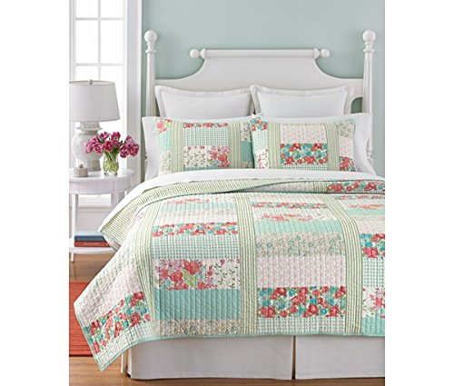 Martha Stewart Collection Aqua & Coral Patchwork Posey King Quilt