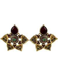 Gehnamart Yellow Gold Plated Imitation Enamel, Emerald And Ruby Designer Stud Earring