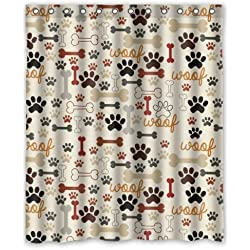 Dog Paws And Bones Pattern Bathroom Shower Curtain Shower Rings Included,  100% Polyester