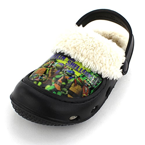 TMNT Ninja Turtles Boys Black Fleece Lined Clogs  M US Toddl