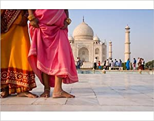 Photographic Print of Visitors at the Taj Mahal, UNESCO World Heritage Site, Agra, Uttar Pradesh,
