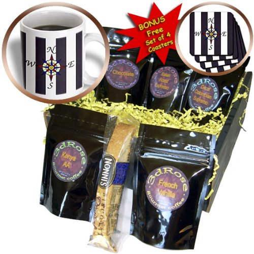 cgb_109910_1 Florene Decorative II – A Compass On Blue n White Nautical Stripes – Coffee Gift Baskets – Coffee Gift Basket