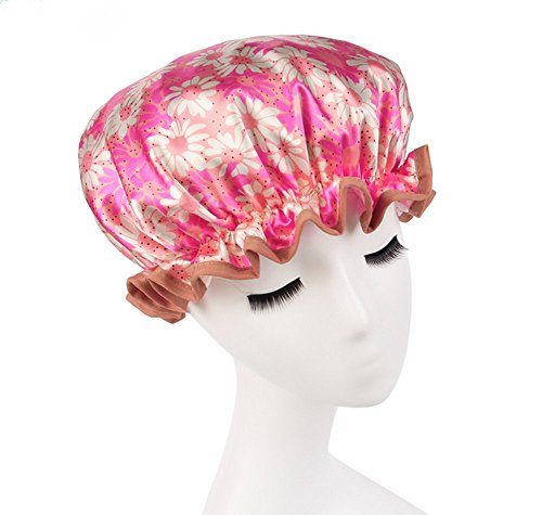 Shower Caps - Extra Large Size Adjustable Satin Lined WaterProof Bathroom ShowerCap By Simply Elegant Long Hair Protection (Pink Floral) (Loc Dots compare prices)