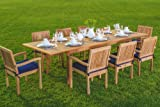 """New 9 Pc Luxurious Grade-A Teak Dining Set -94"""" Rectangle Table And 8 Stacking Leveb Arm Chairs #WHDSLVd"""