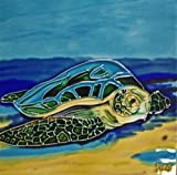 Continental Art Center BD-2046 8 by 8-Inch Single Seaturtle On Beach Ceramic Art Tile